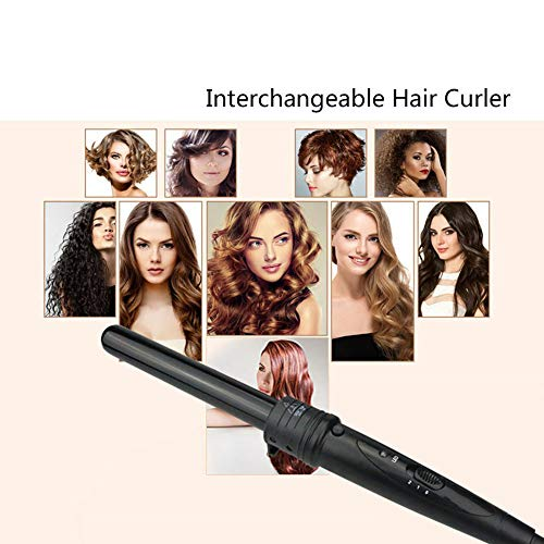 (LXQ Multifunctional Combo Set Curling Rod Ceramic Curling Artifact/Suitable for All Hair/Adjustable Temperature Professional Straightening Machine and Salon High Temperature 100-240V,Black)