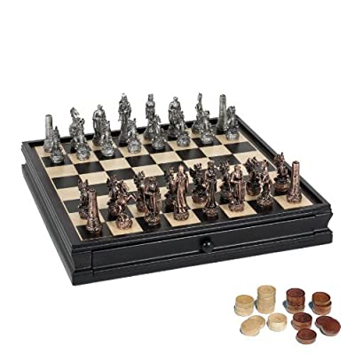 WE Games Fantasy Chess & Checkers Game Set - Pewter Chessmen & Black Stained Wood Board with Storage Drawers 15 in.
