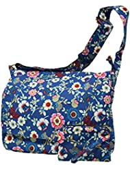 Crossbody Canvas Shoulder Messenger Laptop Case With Extra Zippered Storage Compartments with Wallet