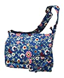 Crossbody Canvas Shoulder Messenger Laptop Case With Extra Zippered Storage Compartments with Wallet (Blue Floral)