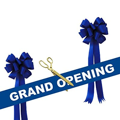"""Grand Opening Kit - 15"""" Gold Plated Ceremonial Ribbon Cutting Scissors with 5 Yards of 6"""" Grand Opening Ribbon White Letters and 2 Bows"""
