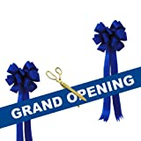 Grand Opening Kit - 15'' Gold Plated Ceremonial Ribbon Cutting Scissors with 5 Yards of 6'' Blue Grand Opening Ribbon White Letters and 2 Royal Blue Bows