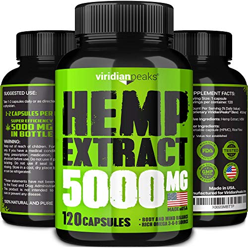 Viridian Peaks Hemp Extract Capsules - 5000MG - Supplement for Anxiety & Stress Relief - 100% Grown & Made in USA - Premium Quality Immune Support - Omega 3-6-9 Source - Insomnia Relief & Mood Boost