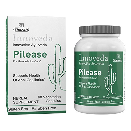 Innoveda Pilease Herbal Supplement for Hemorrhoids, Piles Pain Relief, Reduce Hemorrhoid Inflammation, Swelling, Itching, Irritation, Bleeding Associated with Internal & External Piles, 60 Capsules