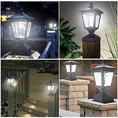4 x 4 Solar Post Lights Outdoor, Solar Lamp Post Cap Lights for Wood Fence Posts Pathway, Deck, Pack of 2
