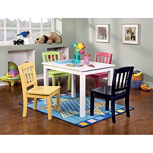 Furniture of America Allie Kids 5 Piece Table and Chair Set in White by Furniture of America