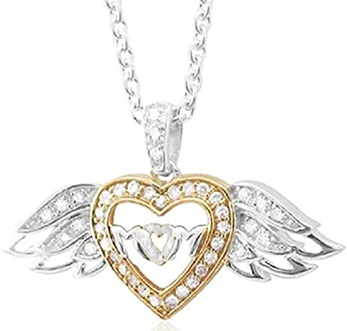 925 Sterling Silver Lovely 2-Tone Dual Heart CZ Pendant