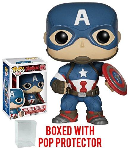 Funko Pop! Marvel: Avengers 2 - Captain America #67 Vinyl Figure (Bundled with Pop BOX PROTECTOR CASE)