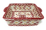 Temp-tations 8x8 Brownie Baker 1.5 Qt Square Casserole Dish Replacement (Old World Cranberry)