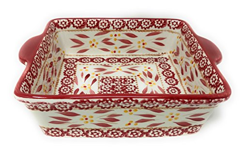 Temp-tations 8x8 Brownie Baker 1.5 Qt Square Casserole Dish Replacement (Old World Cranberry) by Temptations