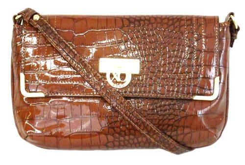 Classy XOXO-Borsa a spalla, in pelle effetto coccodrillo, con patta, colore: marrone