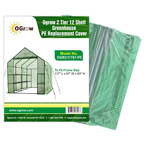 Ogrow 2 Tier 12 Shelf Greenhouse PE Replacement Cover by OGrow