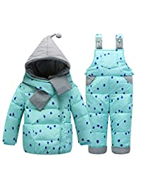 LJYH Baby Boy and Girl Winter New Down Jacket Suit Thicker Belt Pants