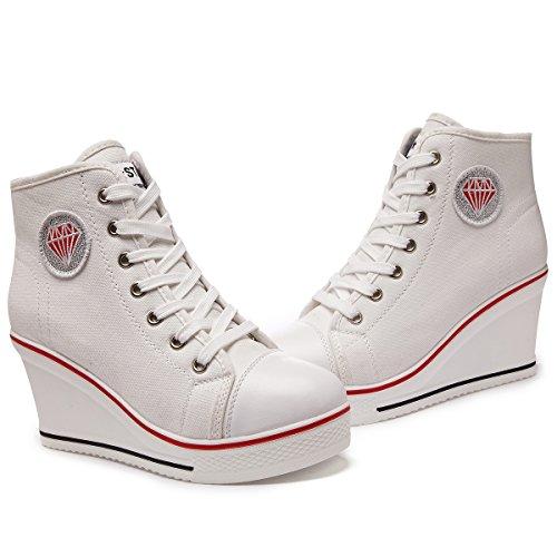 Blanc Sneakers Baskets Casuel Toile PADGENE Mode Chaussures qOpwYB