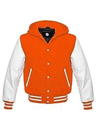 White Leather Sleeves Wool Varsity Hoodie All Colors