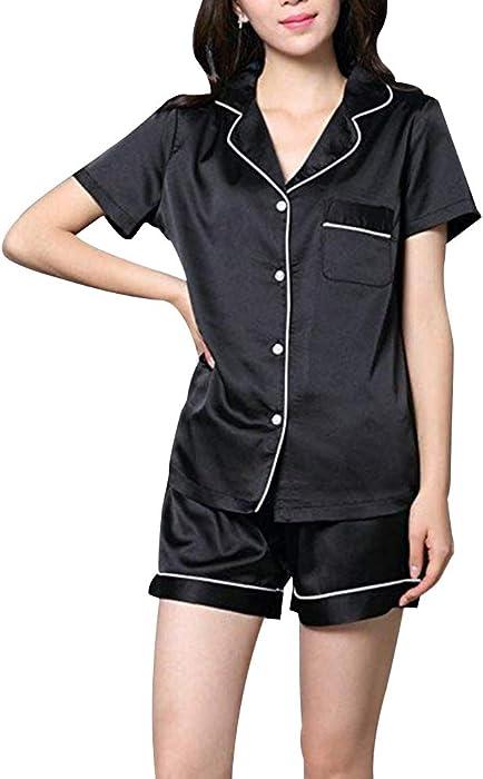 GAESHOW Womens Silk Satin Pajamas Set pJ Sets Long Sleeve Sleepwear Loungewear for All Seasons