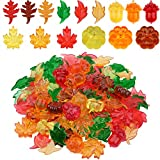 Hicarer 130 Pieces Mini Acrylic Leaves Pumpkin Acorns Autumn Party Table Scatters Assorted Color Acrylic Embellishments for Thanksgiving Halloween Christmas Party Decorations