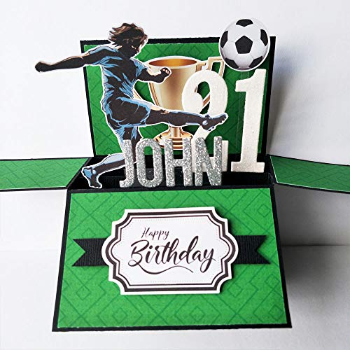 NAME & Age personalised birthday card, handmade Soccer Football Card, 21st Birthday card, birthday card boyfriend, father's day card, card for dad