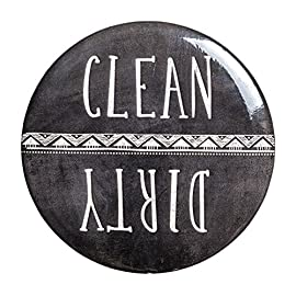 "Sutter Signs Clean & Dirty Dishwasher Magnet 8 2.25-INCH DIAMETER DISHWASHER MAGNET IS SUFFICIENTLY SIZED, so you can easily see it from across the kitchen. WHIMSICAL CHALKBOARD DESIGN WITH BOTH ""DIRTY"" AND ""CLEAN"" SIDES adds a fun touch to your kitchen. QUICKLY AND EASILY TELL IF THE DISHWASHER CONTAINS DIRTY OR CLEAN DISHES by keeping this handy dirty dishwasher magnet from Sutter Signs on the front of the appliance."