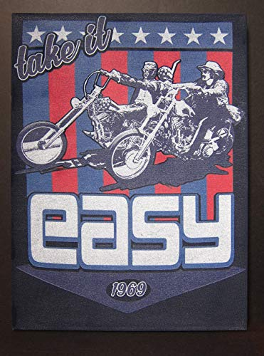 (Easy Rider | Upcycled Vintage T-shirt Wall Art Hanging | Take it Easy 1969)