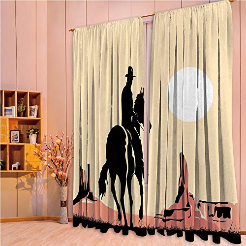 ZHICASSIESOPHIER Modern Style Room Darkening Blackout Window Treatment Curtain Valance for Kitchen/Living Room/Bedroom/Laundry,Horse Towards Sunset in Wild West Desert Hero 108Wx90L Inch ()