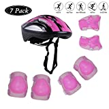 Tour Sports Safety Protective Gear Set for Girls, Kids Helmet Elbow Pads Knee Pads Wrist Guard for Scooter Skateboard Skating Blading Cycling Riding