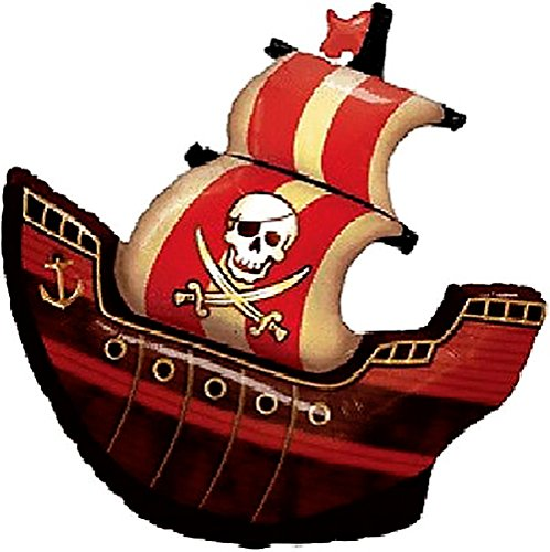 "(Custom, Fun & Cool {XXL Massive Huge Size 40"" Inches - 3.3 Feet} 1 Unit of Helium & Air Inflatable Mylar Aluminum Foil Balloon w/ Jolly Roger Pirate Ship Design [in Pastel Brown, Red, Black & White])"