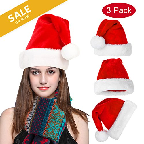 Besteamer Christmas Santa Hat, Festive Holiday Hat, Santa Costume Hat For Christmas Party Celebration, 3pcs Holiday Santa Hat