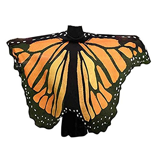 VESNIBA Soft Fabric Butterfly Wings Shawl Fairy Ladies Nymph Pixie Costume Accessory (197125CM, Orange) -