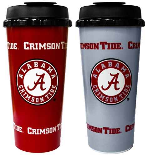 GameDay Novelty NCAA Alabama Crimson Tide Insulated Travel Tumbler with No Spill Flip Lid, 16 oz, 2 Pack ()