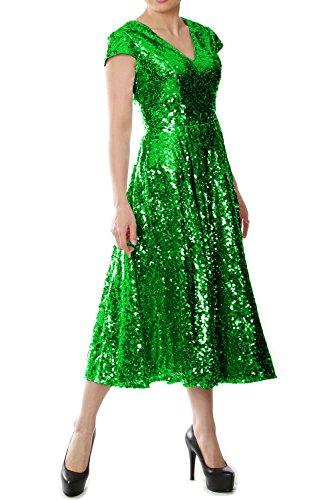 MACloth Women Cap Sleeve V Neck Sequin Tea Length Bridesmaid Dress Evening Gown (26w, Green)
