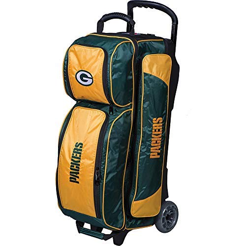 KR Strikeforce Bowling Bags Green Bay Packers 3 Ball Roller Bowling Bag, Green/Yellow