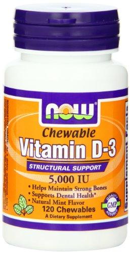 Now Foods Витамин D-3 5000 Ю. жевательные, мята, 120-Граф