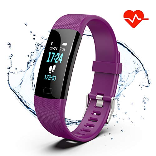 (Fitness Tracker, Color Screen Activity Tracker Watch with Heart Rate Monitor, Pedometer IP67 Waterproof Sleep Monitor Step Counter for Android & iPhone (Purple))