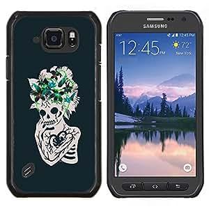 "Be-Star Único Patrón Plástico Duro Fundas Cover Cubre Hard Case Cover Para Samsung Galaxy S6 active / SM-G890 (NOT S6) ( Corazón floral Flores cráneo esquelético"" )"