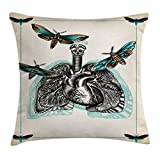 Ambesonne Trippy Art Decor Throw Pillow Cushion Cover by, Man Body Lungs Internal