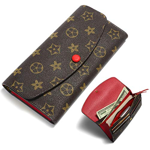 Wallets for Women Emilie Wallet Leather Clutch RFID Blocking with Zip Around Card Holder Organizer (Red) ()