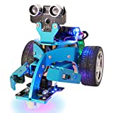 robotic components - Yahboom Hellobot Mirco:bit Robot for Kids Learn Coding with Tutorial STEM Electronic Toy Cars DIY Robotics Kit with Light Discoloration, Singing, Arm Touch, Tracking (Basic Version without Mircobit)
