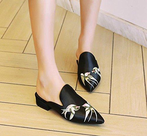Pantoufles Sandales Rétro Chaussures Bas 44 Black Mode 32 DANDANJIE Chaussures D'Été de Pointée et Gris Rouge Femmes de Noir Plates à Broderie Soie Talons de fAqw8