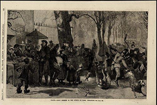 Versailles France Street Scene Wine Sheep Fruit 1871 great old print for display