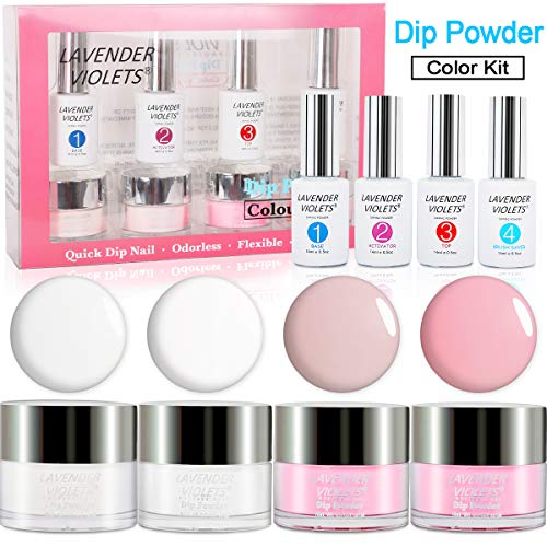 Dipping Powder Nail Starter Kit, French Dip Acrylic Nails Powders System No UV/LED Nail Lamp Needed J760