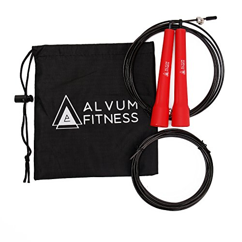 Alvum Premium Speed Jump Rope, Durable & Strong – for Boxing & MMA Speed Training, Crossfit, Skipping & Body Fitness. Adjustable for Men, Women and Kids. + Extra Rope and Accessories