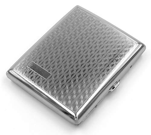 estuche de metal vintage para cigarrillos Wavy Silver