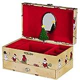 SONGMICS Musical Jewelry Box with Storage Drawers for Kids Girls, Jingle Bells Tune UJMC001