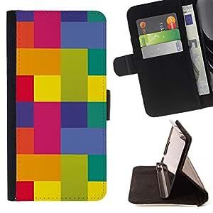 Momo Phone Case / Flip Funda de Cuero Case Cover - Polygone Art couleurs vibrantes Jaune Rose - Motorola Moto E ( 2nd Generation )