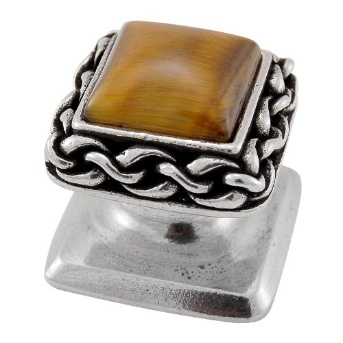 Vicenza Designs K1151 Gioiello  Square  Stone Insert  Style 5  Knob,  Tiger's Eye,  Small,  Vintage Pewter