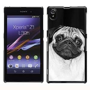 Caucho caso de Shell duro de la cubierta de accesorios de protección BY RAYDREAMMM - Sony Xperia Z1 L39 C6902 C6903 C6906 C6916 C6943 - Cute Happy Pug Dog