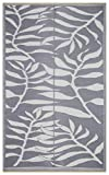 Lightweight Indoor Outdoor Reversible Plastic Area Rug - 5.9 x 8.9 Feet - Leaf Pattern - Grey/White