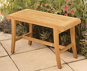 New Grade A Teak Wood Luxurious Outdoor Garden Bath Stool / Occasional Bench