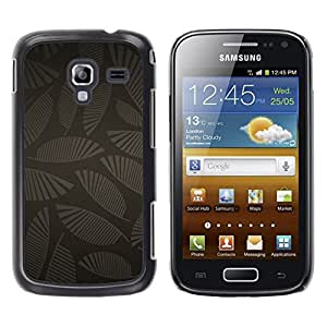 MOBMART Carcasa Funda Case Cover Armor Shell PARA Samsung Galaxy Ace 2 - Strands Of Dark Patterned Leaves